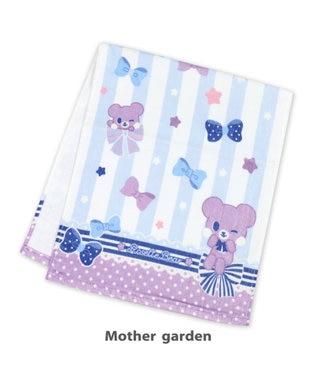 Mother garden くまのロゼット フェイスタオル 《リボン柄》 キッズタオル 紫