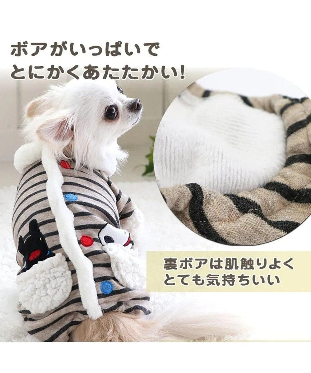 PET PARADISE 【ネット店限定】 リサとガスパール ボーダー ロンパース〔小型犬〕 グレー