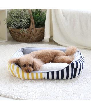 PET PARADISE ペットパラダイス ペットカドラーM ボーダー 四角 ベッド マルチカラー