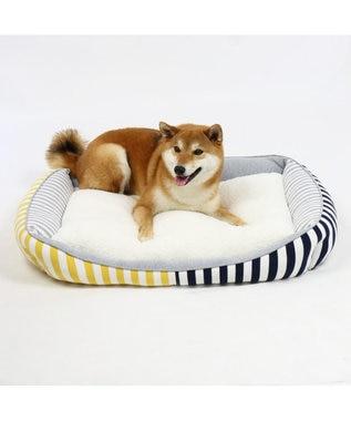 PET PARADISE ペットパラダイス ペットカドラーL ボーダー 四角 ベッド マルチカラー