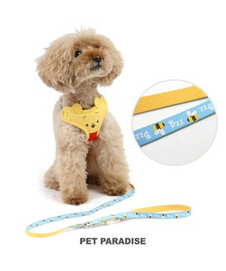 PET PARADISE ディズニー くまのプーさん フェイス蜂青リード付ハーネス ペットS 黄