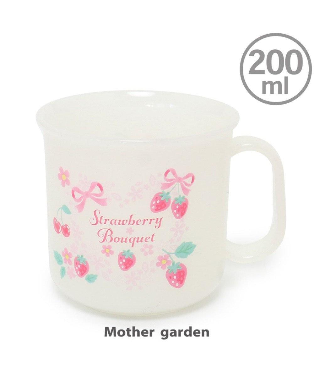 Mother garden マザーガーデン 野いちご プラコップ 《リボン柄》 日本製 プラカップ コッ ピンク(淡)
