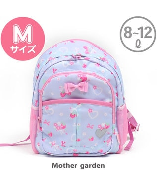 Mother garden マザーガーデン 野いちご 子供用リュックサック Mサイズ  《ブーケ柄》 水色