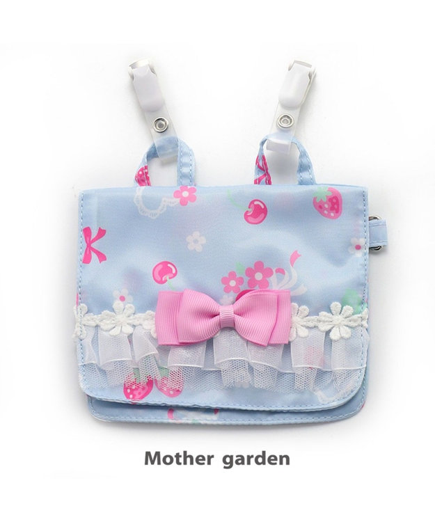 Mother garden マザーガーデン 野いちご ポケットポーチ 《ブーケ柄》 移動ポケット 水色
