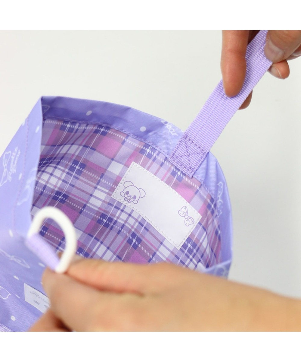 Mother garden くまのロゼット シューズバッグ  《リボン柄》 上履き入れ 紫