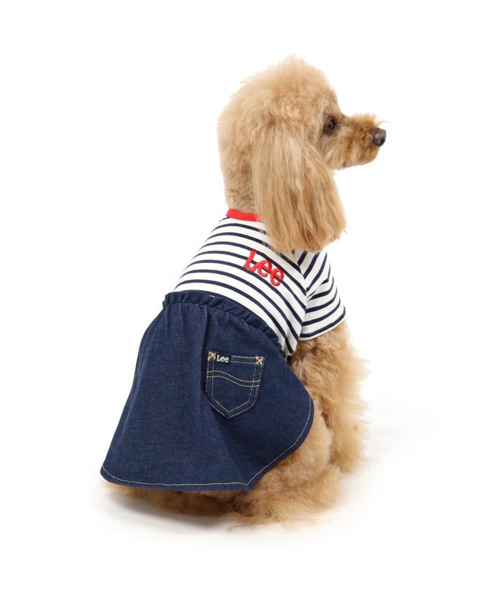 PET PARADISE Lee ボーダー スカートつなぎ〔小型犬〕 紺(ネイビー・インディゴ)