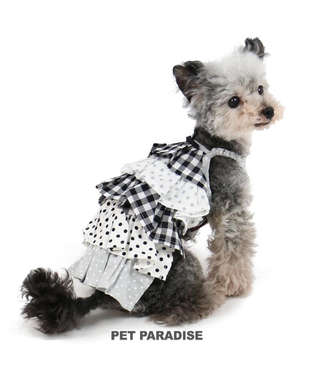 PET PARADISE ペットパラダイス フリル ワンピース チェック〔小型犬〕 無彩色