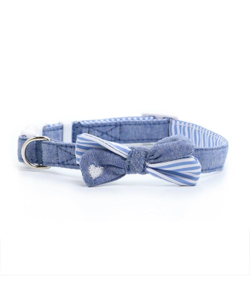 PET PARADISE ペットパラダイス デニム リボン 首輪 3S 〔小型犬〕 青