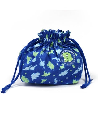 Mother garden きょうりゅう日記 《地球柄》 ランチ巾着 お弁当袋 ランチ袋 紺(ネイビー・インディゴ)