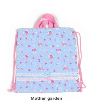 Mother garden マザーガーデン 野いちご 《ブーケ柄》 キルトお着替え巾着 お着替え入れ 水色