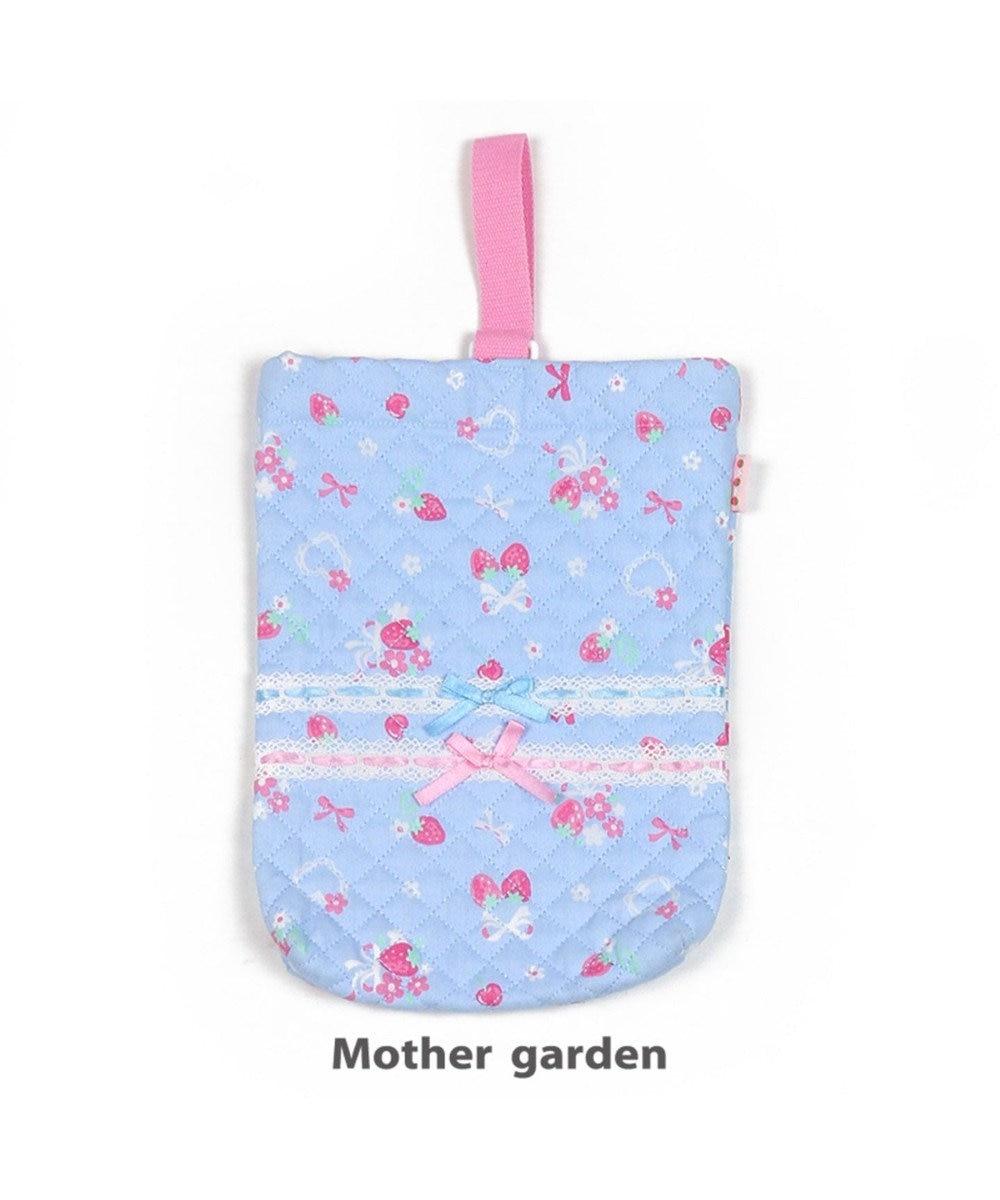 Mother garden マザーガーデン 野いちご 《ブーケ柄》 キルトシューズバック 上履き入れ 水色