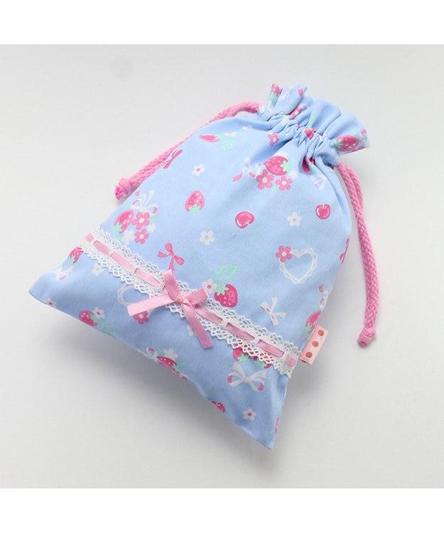 Mother garden マザーガーデン 野いちご 《ブーケ柄》 巾着 小 着替え袋 水色