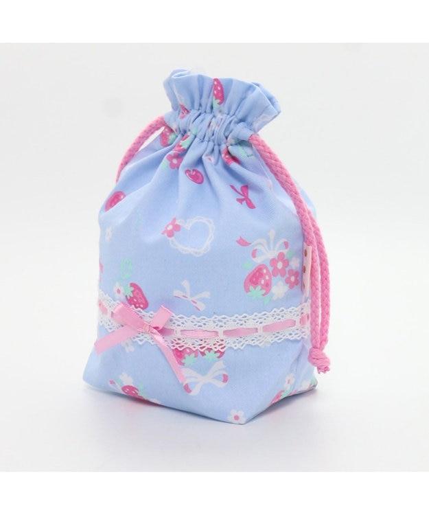 Mother garden マザーガーデン 野いちご 《ブーケ柄》 コップ巾着 コップ袋 水色
