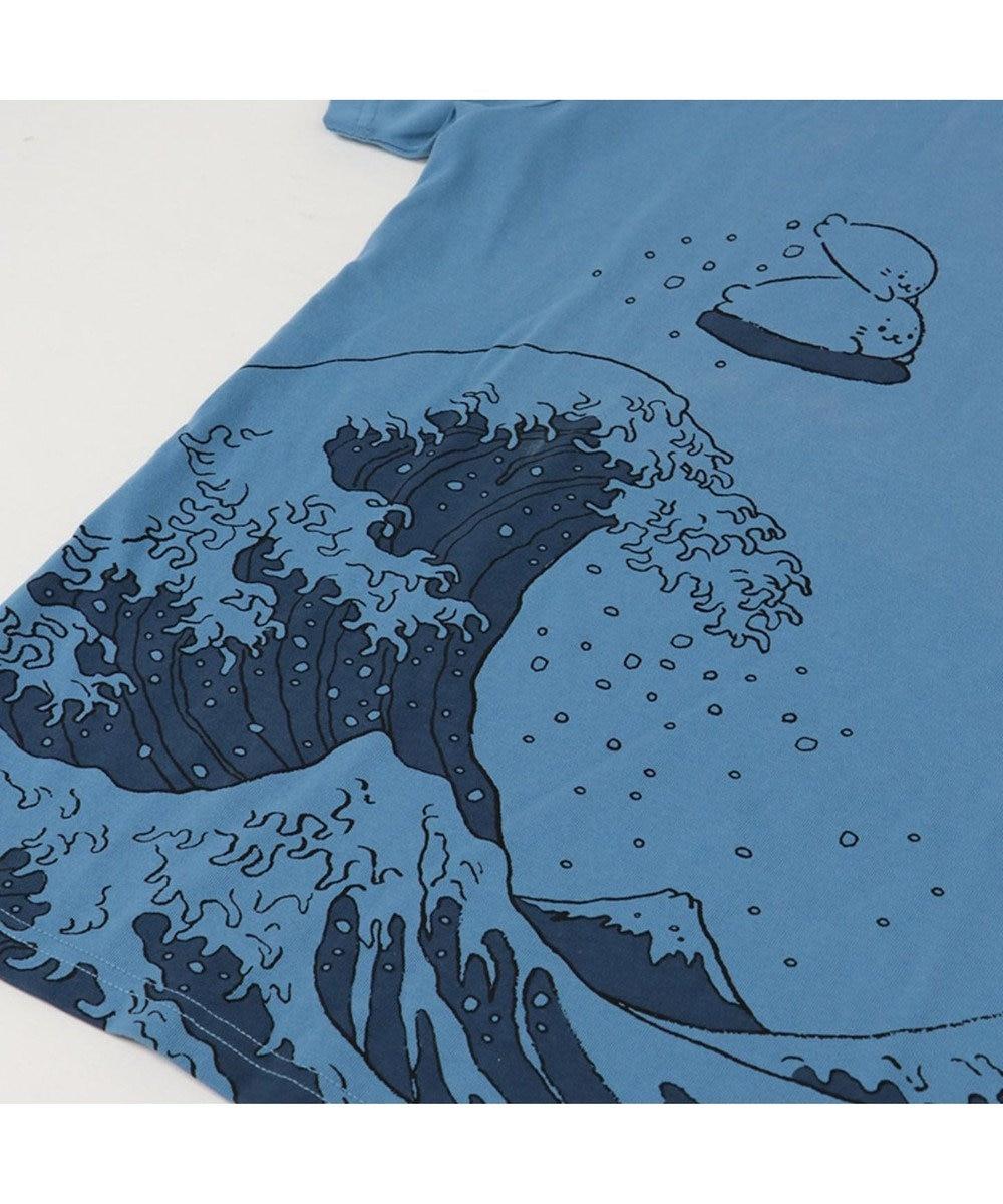 Mother garden 【Tシャツフェア対象商品】しろたん Tシャツ 半袖 波柄 ユニセックス 紺(ネイビー・インディゴ)