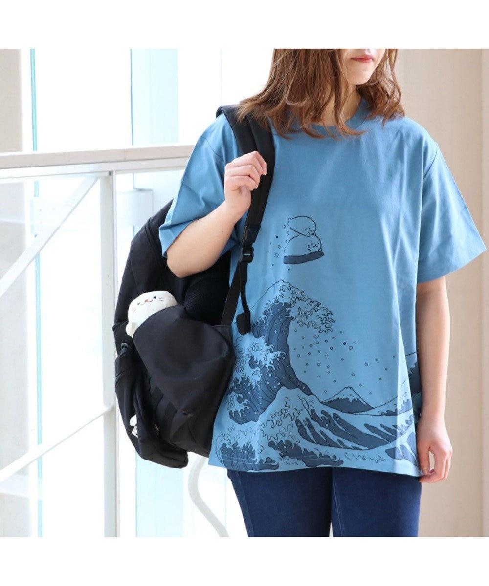 Mother garden しろたん Tシャツ 半袖 波柄 ユニセックス 紺(ネイビー・インディゴ)