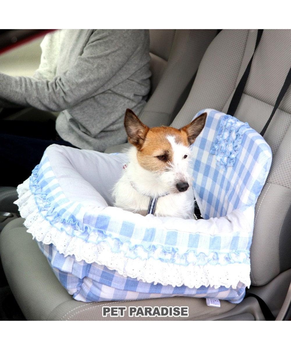 PET PARADISE ペット ベッド ドライブ カドラー 【小型犬】 格子 犬 ドライブ ボックス ドライブシート ドライブベット ドライブベッド ドライブカドラー キャリーバッグ お出掛け 移動 車 おしゃれ かわいい ふわふわ 春 夏 秋 冬 水色