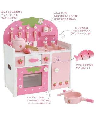Mother garden マザーガーデン 木製 おままごと ままごと セット 野いちご システムグリル キッチン 《ピンク》 木のおもちゃ キッチン コンパクト おもちゃ おままごとセット お誕生日プレゼント 子供の日 ピンク(濃)