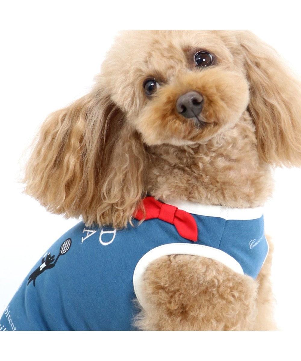 PET PARADISE リサとガスパール  ワンダフルストレッチ タンク テニス柄〔小型犬〕 紺(ネイビー・インディゴ)