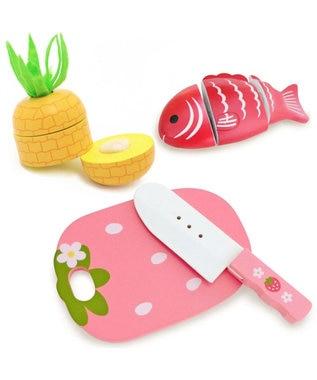 Mother garden マザーガーデン 野いちご 包丁&まな板&食材セット<白身魚・パイン> 0