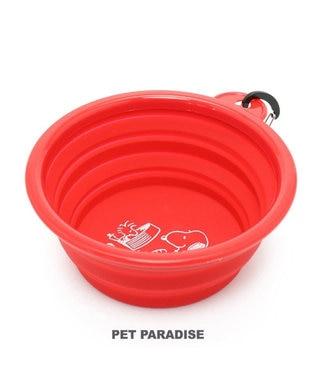 PET PARADISE スヌーピー 携帯マルチボウル シリコン製 折り畳みタイプ 赤 赤