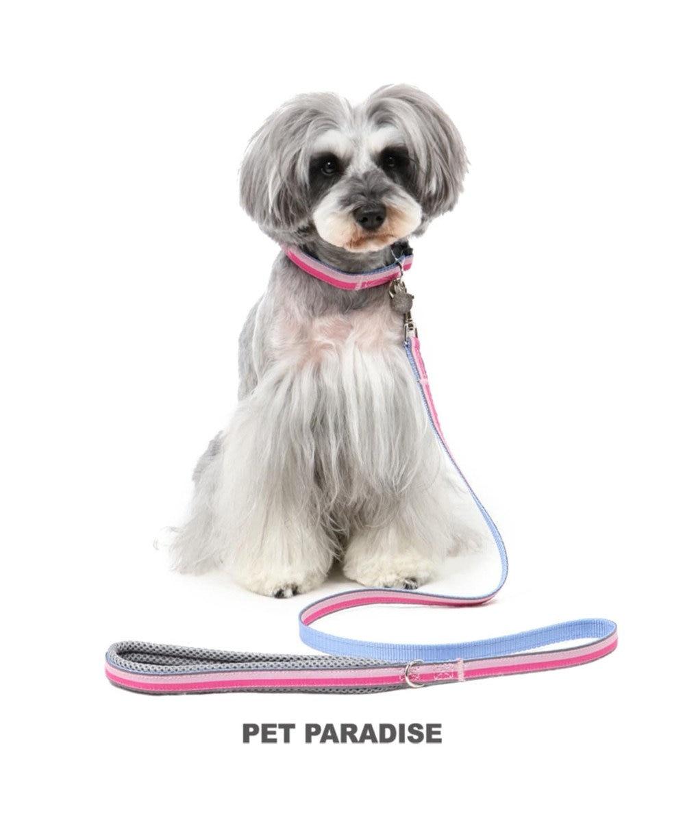PET PARADISE ペットパラダイス 切替首輪&リード 桃 〔中・大型犬〕 ペットSM/M/L 犬具 ピンク(淡)