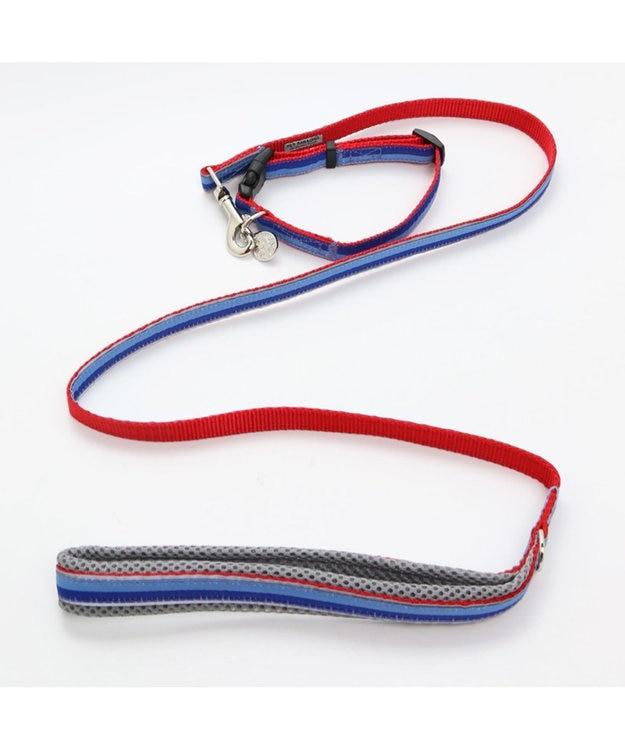 PET PARADISE ペットパラダイス 切替首輪&リード 青 〔中・大型犬〕 ペットSM/M/L 犬具