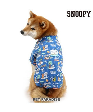 PET PARADISE スヌーピー ビーチ アロハシャツ〔中・大型犬〕 紺(ネイビー・インディゴ)