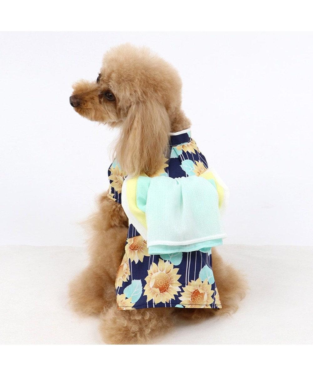 PET PARADISE ペットパラダイス ひまわり柄 浴衣 ポケットクール〔超小型・小型犬〕 紺(ネイビー・インディゴ)