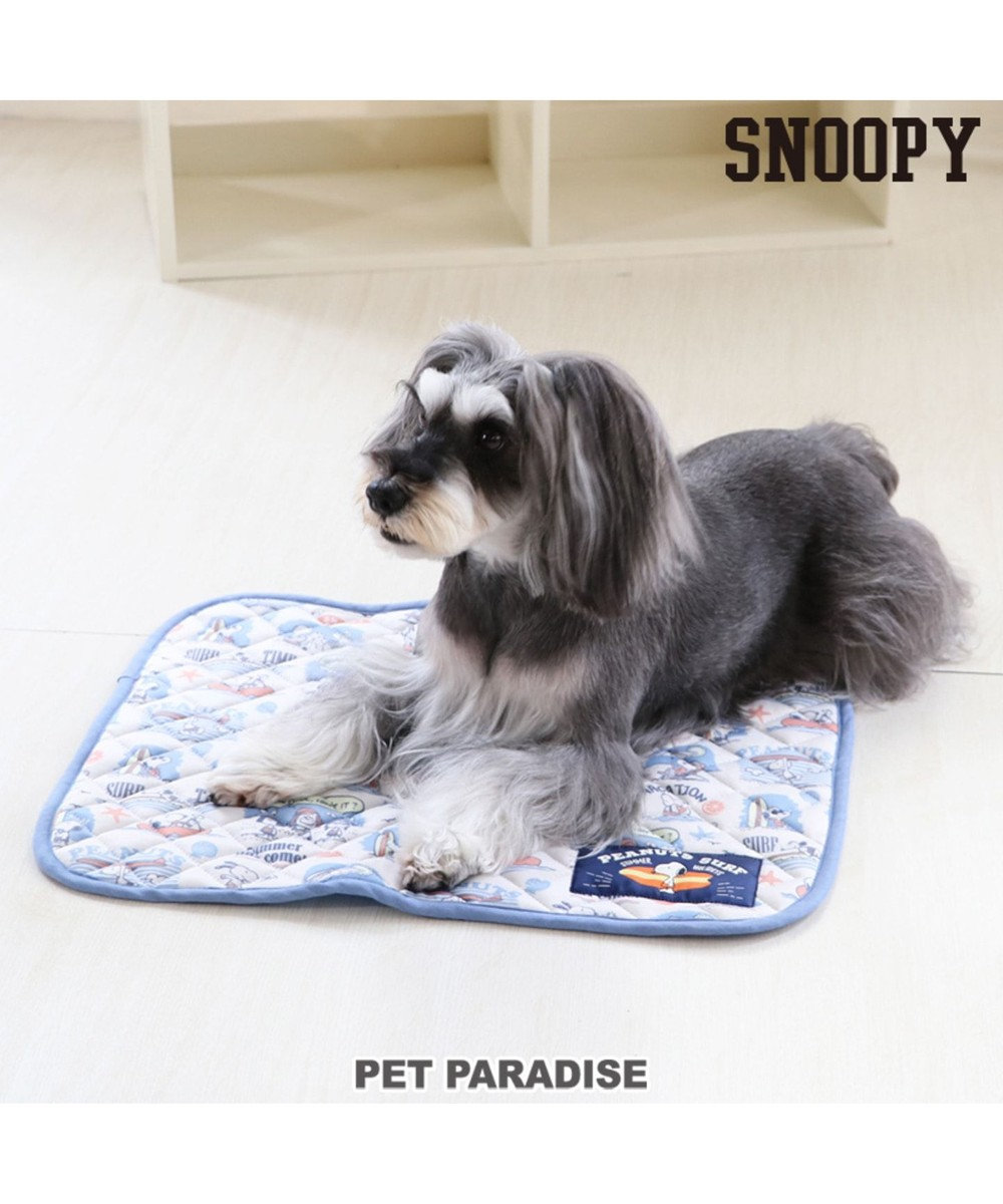 PET PARADISE スヌーピー ペット用マットS クール柔らかマット 青