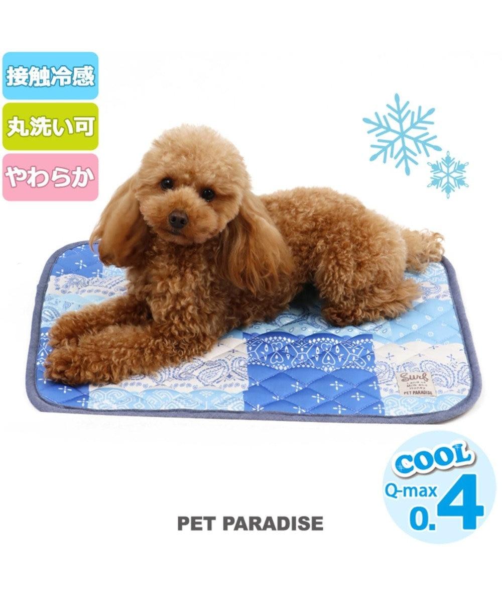 PET PARADISE ペットパラダイス ペット用マットS クール柔らかマット パッチ柄 青