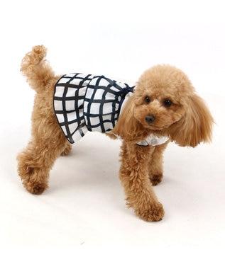PET PARADISE ペットパラダイス 格子 フリル ワンピース 〔 超小型・小型犬〕 紺(ネイビー・インディゴ)