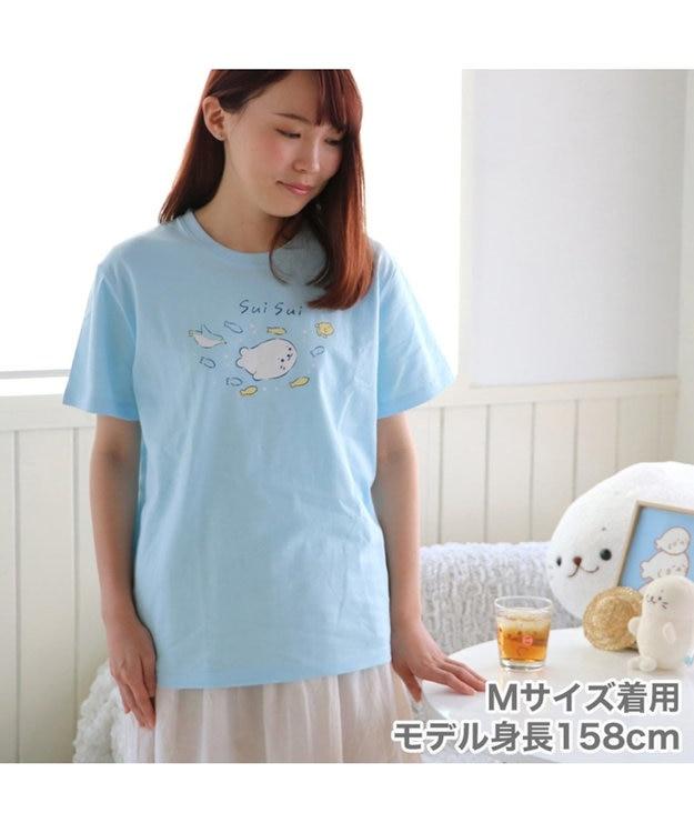 Mother garden しろたん Tシャツ 半袖 sui sui柄 水色 ユニセックス
