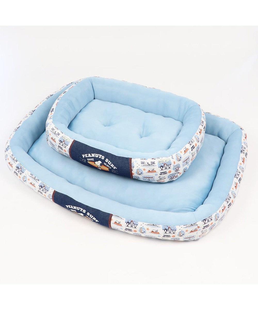 PET PARADISE スヌーピー 接触冷感 サーフ カドラー ベッド 四角M(57×45cm) 青