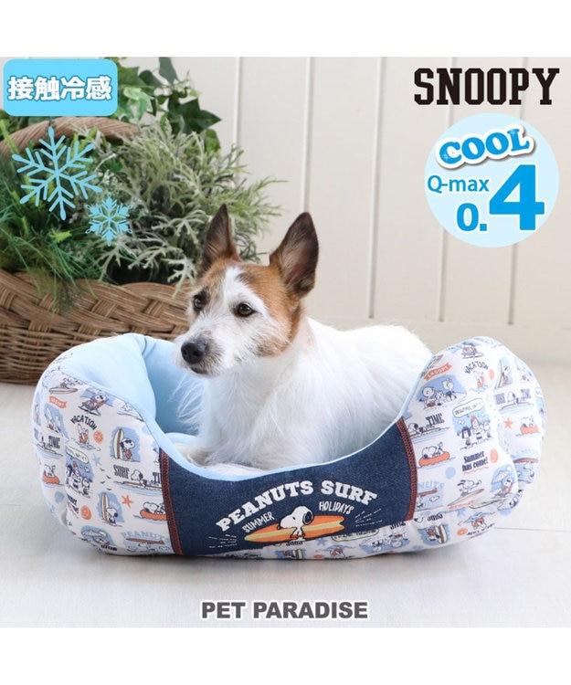 PET PARADISE スヌーピー 接触冷感 サーフ カドラー ベッド 四角M(57×45cm)