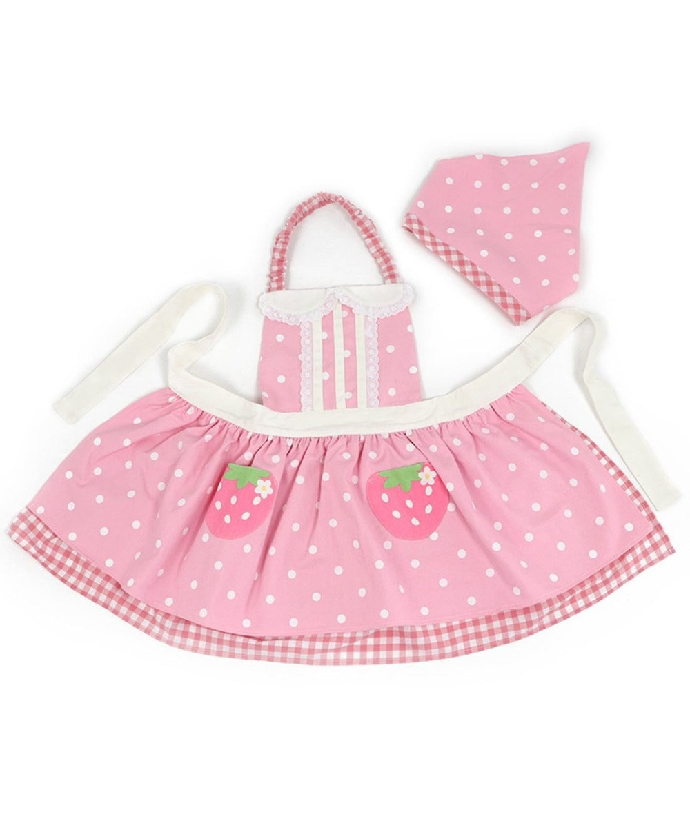 Mother garden マザーガーデン 野いちご 子供エプロン&三角巾 《桃色 水玉柄》 ピンク(淡)
