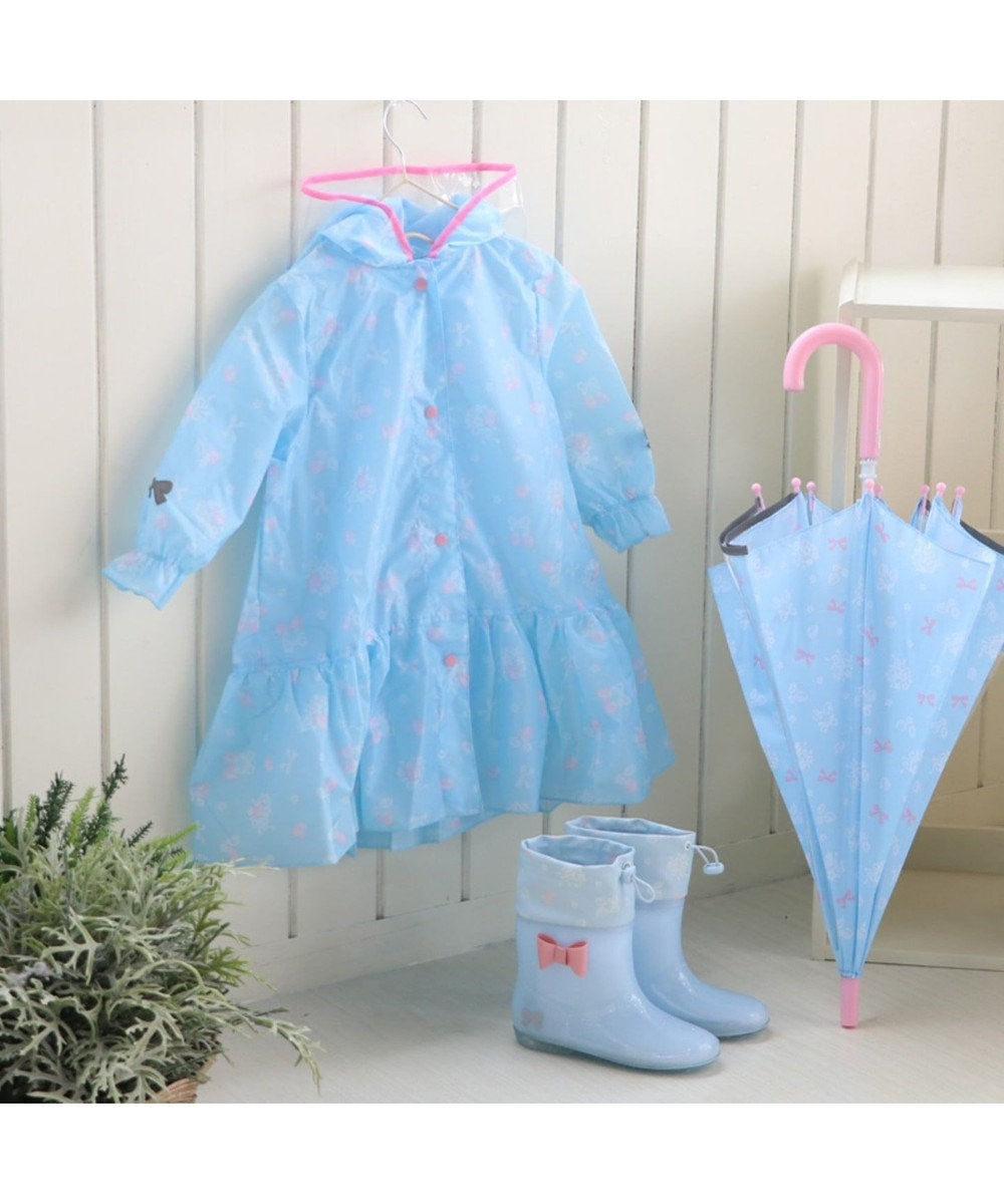 Mother garden マザーガーデン 子供用レインコート 《リボン柄》 ランドセル対応 水色