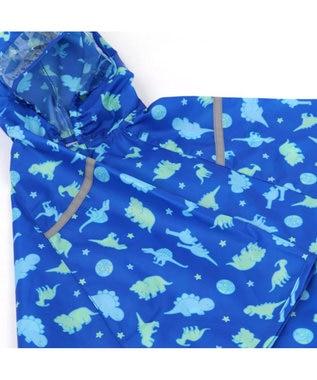Mother garden きょうりゅう日記 子供用レインポンチョ 《地球柄》 90cm 紺(ネイビー・インディゴ)
