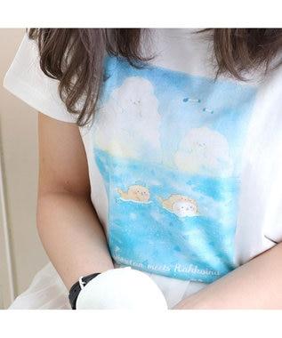 Mother garden しろたん Tシャツ 半袖 らっこいぬ柄 白色 ユニセックス 白~オフホワイト