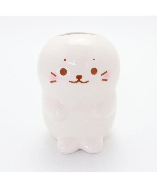 Mother garden しろたん フラワーベース 花瓶 花器 白 あざらし キャラクター かわいい 白雲陶器 一輪差し フラワーポット 花入れ ホワイト 陶器 フラワー インテリア マザーガーデン