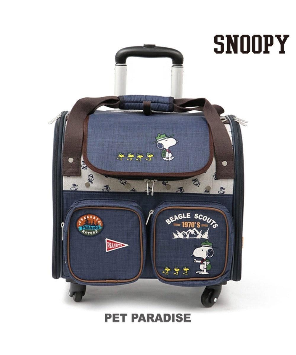 PET PARADISE スヌーピー スカウト柄 M〔6キロ用 〕キャスター付きキャリーバッグ グレー