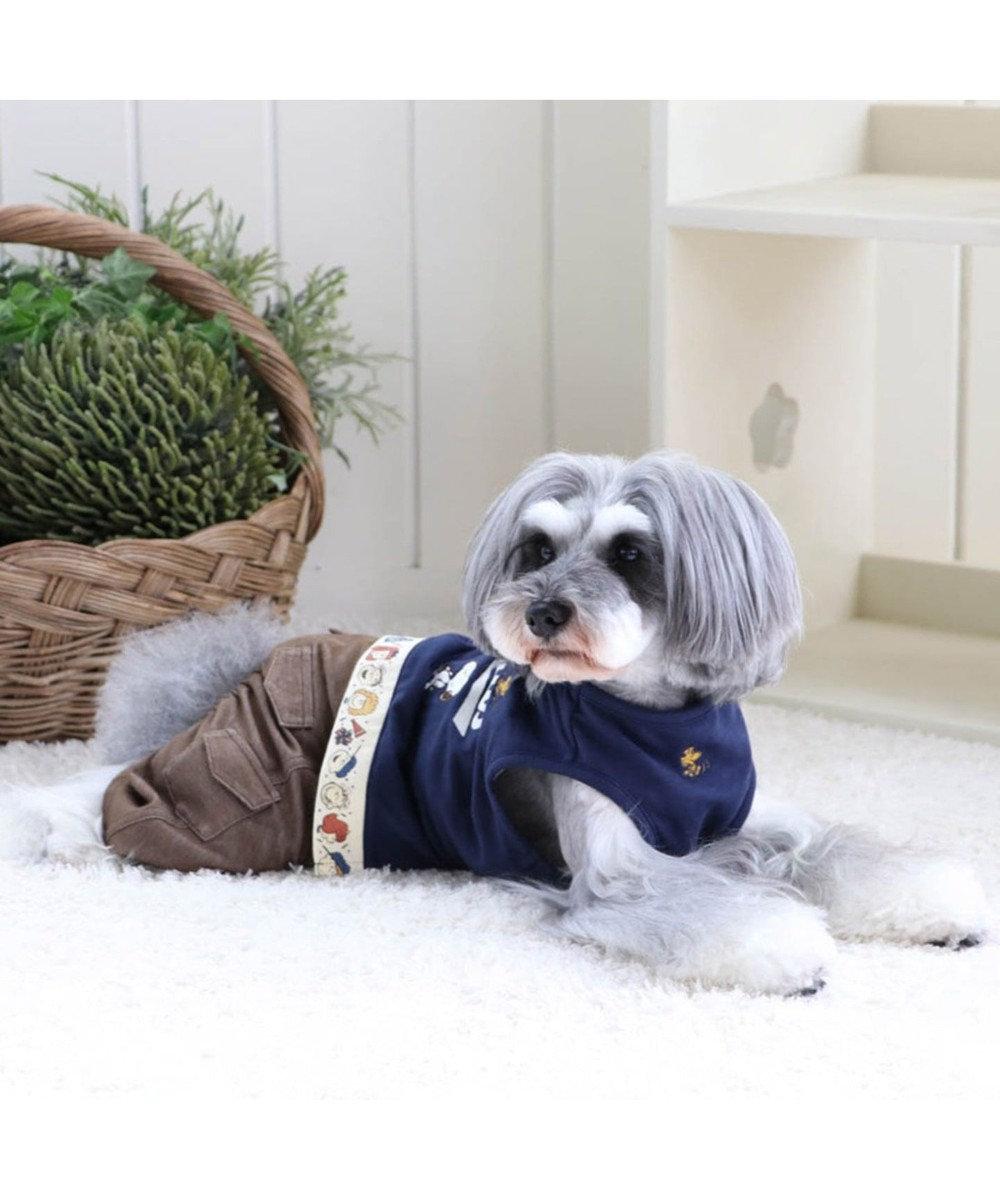 PET PARADISE スヌーピー ピーナッツパンツ上下つなぎ〔超小型・小型犬〕 紺(ネイビー・インディゴ)