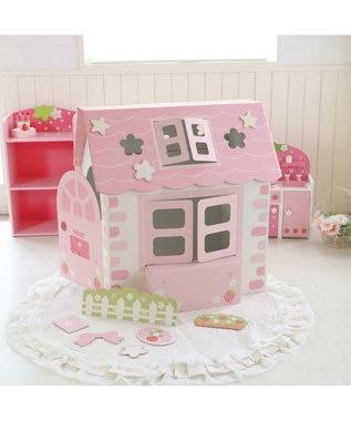 Mother garden マザーガーデン ままごと 《いちごのお家》 デコハウス ダンボールハウス デコレーションハウス おうちごっこ クラフト ハウス コンパクト 折りたたみ おままごと おもちゃ プレゼント おもちゃ 女の子 工作 ピンク(淡)