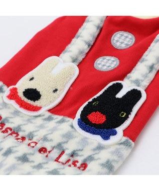 PET PARADISE リサとガスパール 千鳥柄 スカート付き上下 〔超小型・小型犬〕 赤