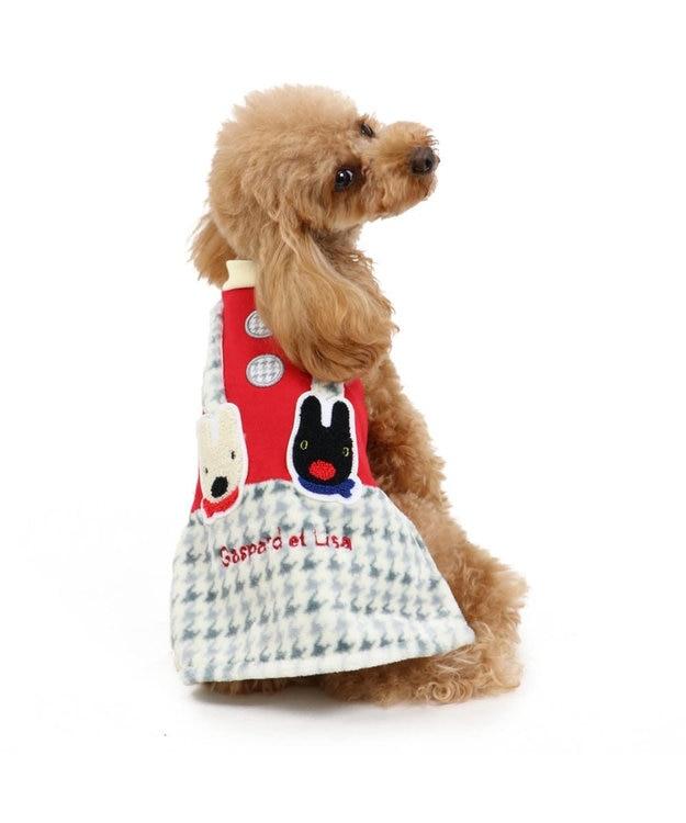 PET PARADISE リサとガスパール 千鳥柄 スカート付き上下 〔超小型・小型犬〕