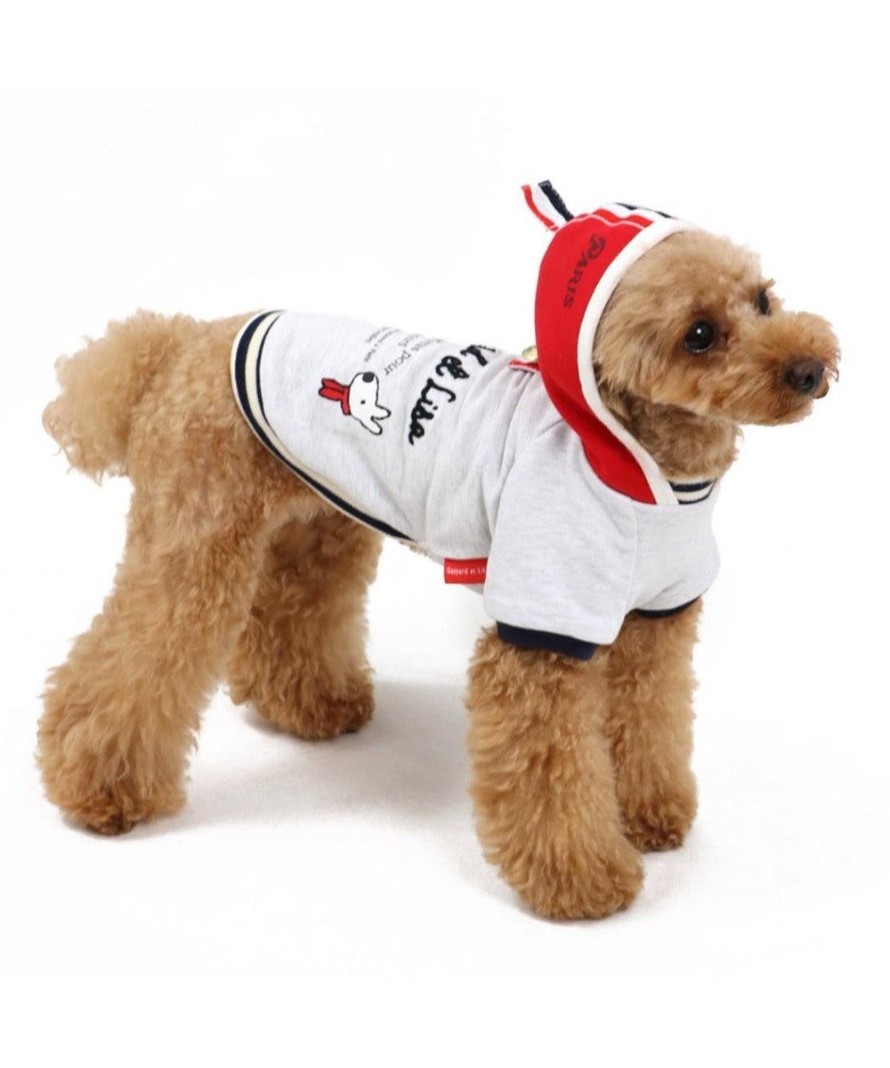 PET PARADISE リサとガスパール ボーダー 重ね着パーカー 〔超小型・小型犬〕 グレー