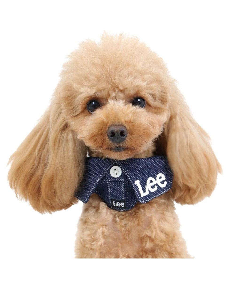 PET PARADISE Lee 襟付き ロゴ首輪 ペットS〔小型犬〕 紺(ネイビー・インディゴ)