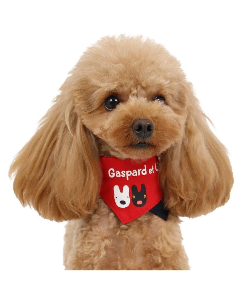 PET PARADISE リサとガスパール ロゴ柄 バンダナ付き 首輪 SS〔小型犬〕 白~オフホワイト
