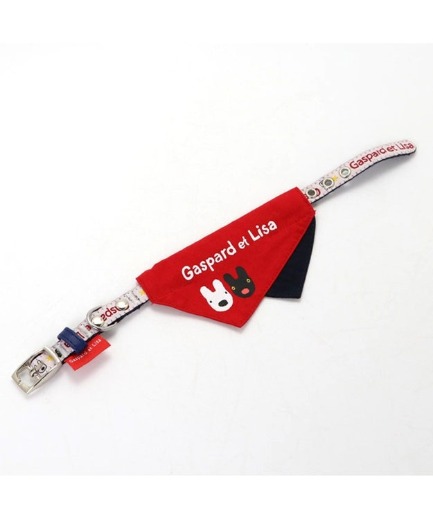 PET PARADISE リサとガスパール ロゴ柄 バンダナ付き 首輪 S〔小型犬〕