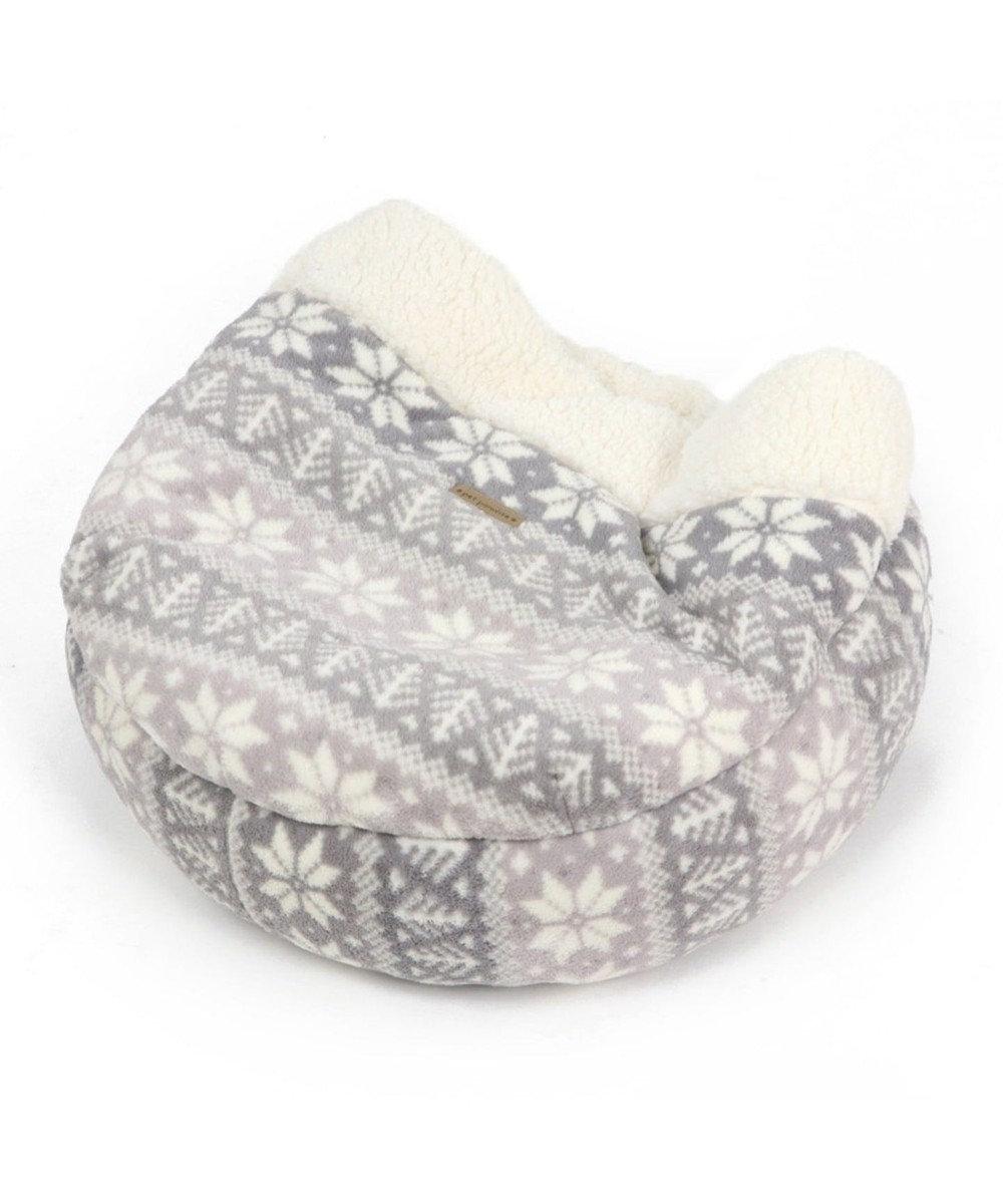PET PARADISE ペットパラダイス ペット寝袋S 雪柄 丸型 寝袋 遠赤外線 グレー