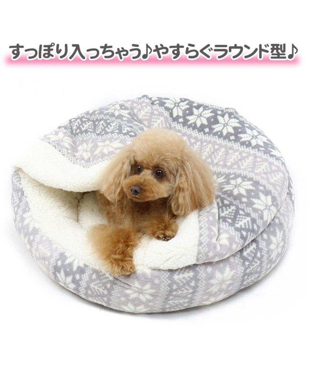PET PARADISE ペットパラダイス ペット寝袋M 雪柄 丸型 寝袋 遠赤外線 グレー